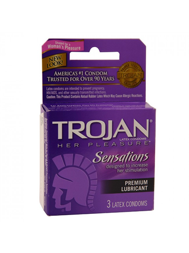 Trojan Her Pleasure Sensations Lubricated 3 Pack