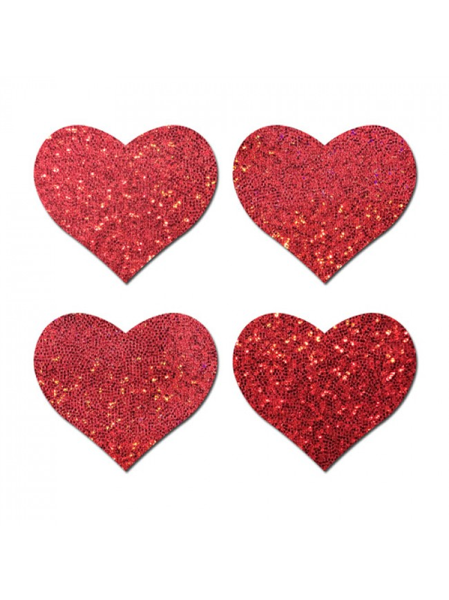 Pastease Petites Small Red Glitter Hearts (2 pair) Nipple Pasties